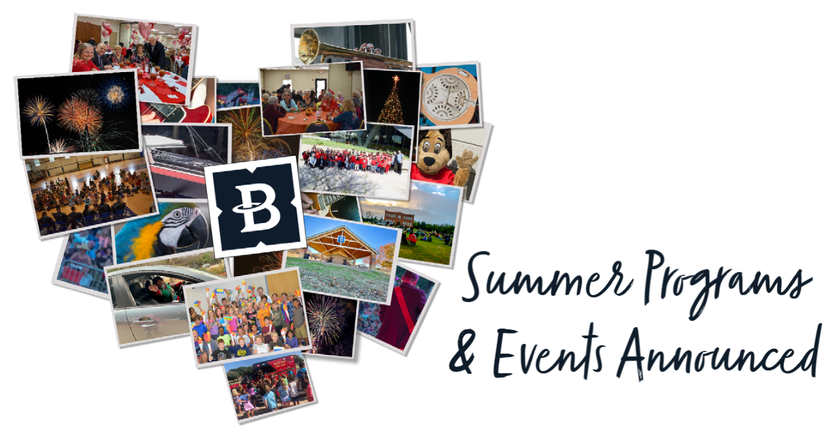 A heart-shaped collage of Bedford special events